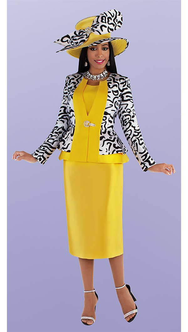 Tally Taylor 4695-Gold - Three Piece Church Suit With Patterned Peplum Jacket And Solid Skirt