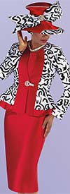 Tally Taylor 4695-Red - Three Piece Church Suit With Patterned Peplum Jacket And Solid Skirt