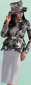 Tally Taylor 4696-BlackGrey - Sold Color Skirt Suit With Floral Print Pattern Jacket