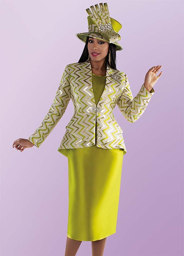 Tally Taylor 4696-Pistachio - Sold Color Skirt Suit With Zig Zag Print Pattern Jacket