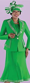 Tally Taylor 4697-Emerald - Diamond Lapel Jacket And Flared Skirt Suit With Rhinestone Detail Trims