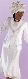 Tally Taylor 4697-White - Diamond Lapel Jacket And Flared Skirt Suit With Rhinestone Detail Trims