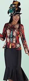 Tally Taylor 4698-Black - Mermaid Flounce Skirt Suit With Novelty Print Jacket