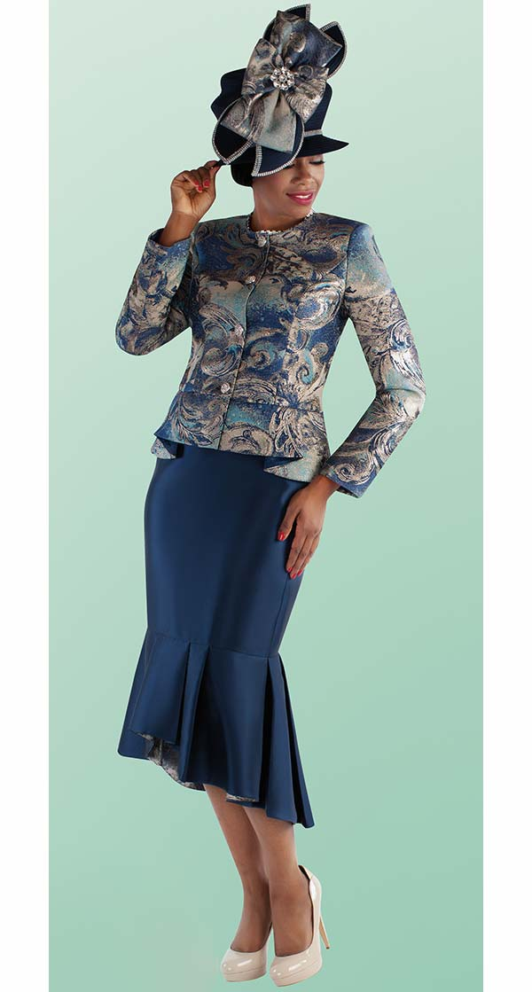 Tally Taylor 4698-Navy - Mermaid Flounce Skirt Suit With Novelty Print Jacket