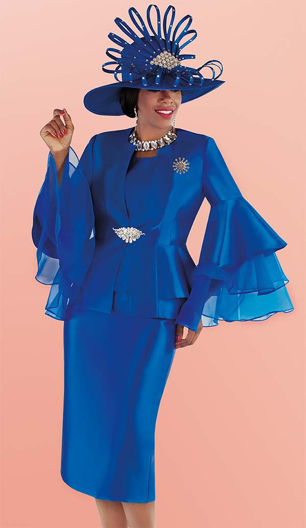 Tally Taylor 4699-Royal - Womens Skirt Suit With Ruffle Organza Layered Wide Bell Sleeve Peplum Jacket