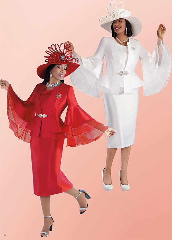 Tally Taylor 4699 - Womens Skirt Suit With Ruffle Organza Layered Wide Bell Sleeve Peplum Jacket
