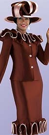 Tally Taylor 4700-Brown - Two Piece Church Suit With Ruffle Piping Trimmed Jacket And Skirt