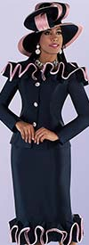 Tally Taylor 4700-Navy - Two Piece Church Suit With Ruffle Piping Trimmed Jacket And Skirt