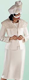 Tally Taylor 4701-Ivory - Skirt Suit With Pearl Detail Embellished Over Shoulder Collar Jacket