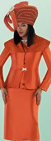 Tally Taylor 4701-Pumpkin - Skirt Suit With Pearl Detail Embellished Over Shoulder Collar Jacket