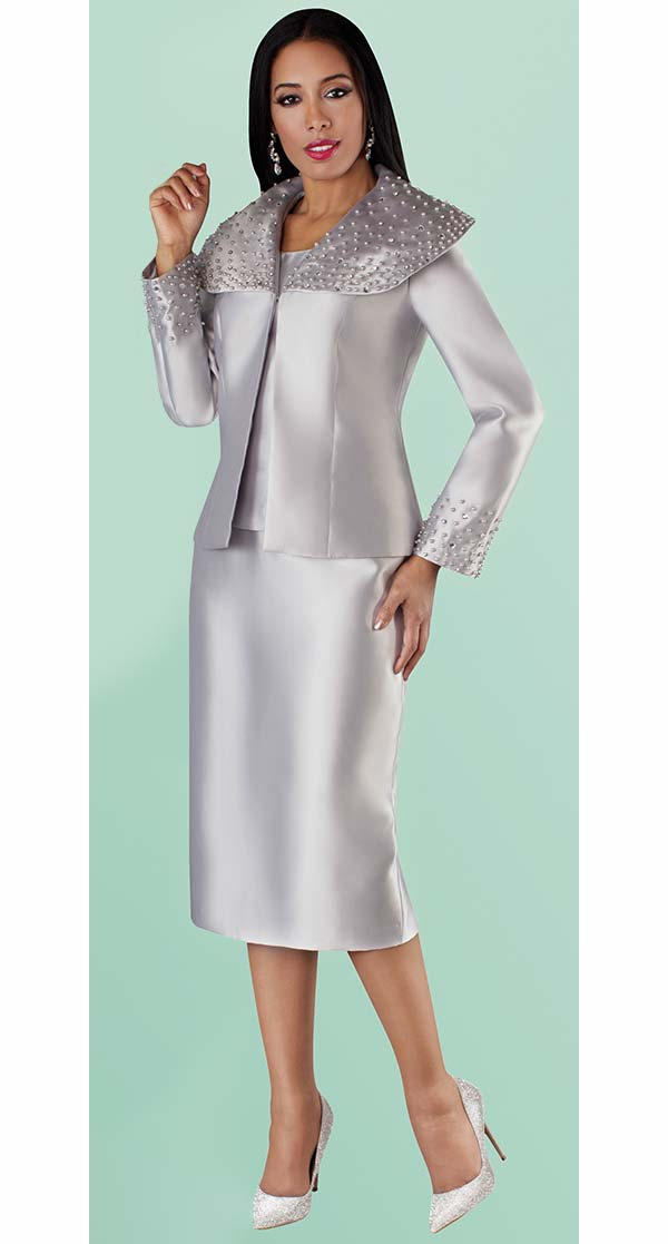 Tally Taylor 4701-Silver - Skirt Suit With Pearl Detail Embellished Over Shoulder Collar Jacket