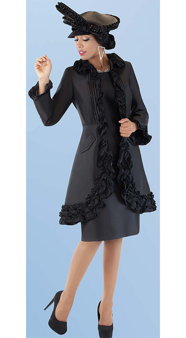 Tally Taylor 4702-Black - Two Piece Church Dress With Ruffle Accented Jacket