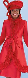 Tally Taylor 4702-Red - Two Piece Church Dress With Ruffle Accented Jacket