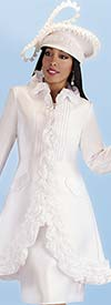 Tally Taylor 4702-White - Two Piece Church Dress With Ruffle Accented Jacket