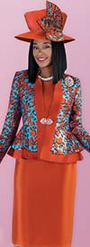 Tally Taylor 4703 - Three Piece Skirt Suit With Abstract Print Peplum Jacket Including Brooch