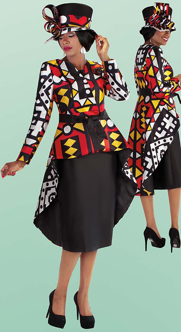 Tally Taylor 4705 - Three Piece Skirt Suit With High Low Novelty Print Jacket Including Sash & Brooch