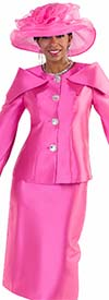 Clearance Tally Taylor 4570-Fuchsia - Two Piece Skirt Suit With Expanded Collar & Jeweled Buttons