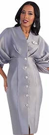 Clearance Tally Taylor 4571-Silver - One Piece Dress With Puffy Sleeves & Rhinestone Buttons