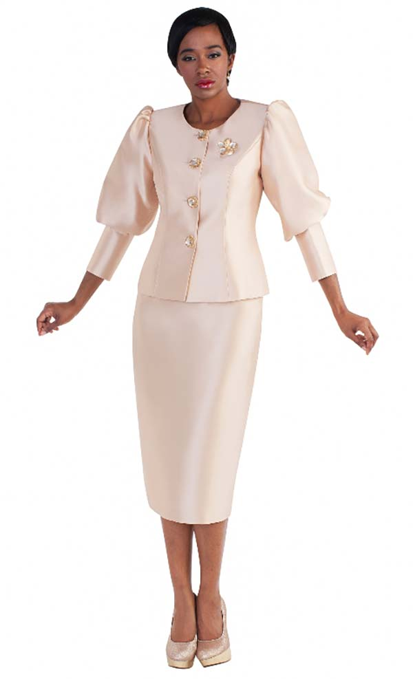 Tally Taylor 4588-Champagne - Two Piece Skirt Suit With Puffed Sleeves & Rhinestone Brooch