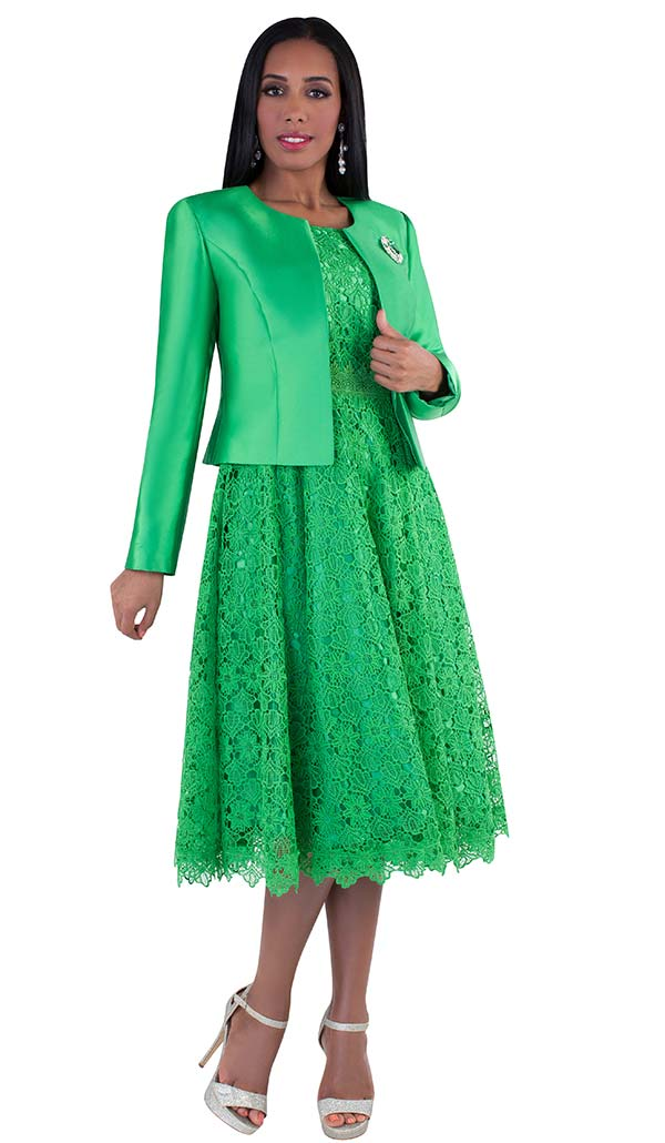 Tally Taylor 4529-Emerald - Two Piece Lace Design Dress Suit With Solid Jacket & Rhinestone Brooch