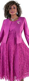 Tally Taylor 4529-Purple - Two Piece Lace Design Dress Suit With Solid Jacket & Rhinestone Brooch