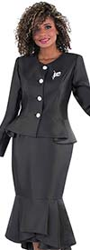 Tally Taylor 4579-Black - Flounce Skirt Suit With Peplum Style Jacket