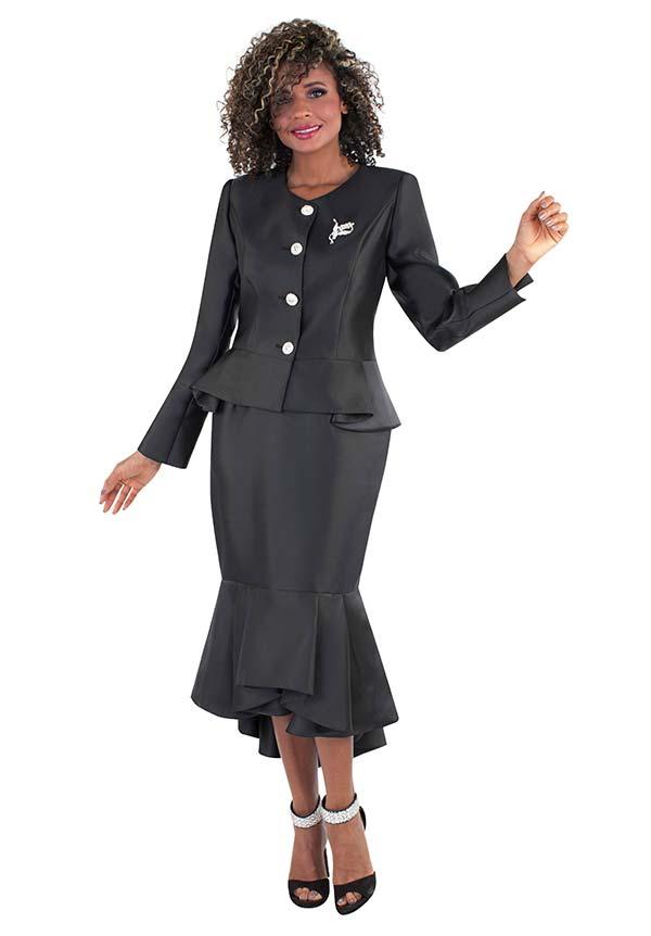 Tally Taylor 4579-Black - Flounce Skirt Suit With Peplum Style Jacket