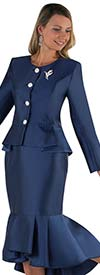 Tally Taylor 4579-Navy - Flounce Skirt Suit With Peplum Style Jacket