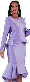 Tally Taylor 4579-Purple - Flounce Skirt Suit With Peplum Style Jacket