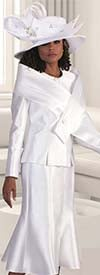 Tally Taylor 4636-White - Two Piece Suit With Cross Layered Wrap Detail