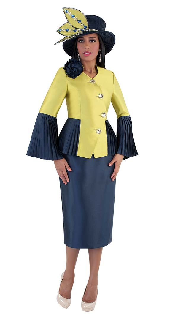 Tally Taylor 4640 - Womens Skirt Suit With Pleated Flounce Sleeves & Peplum Jacket
