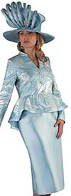 Tally Taylor 4649 - Womens Skirt Suit With Peplum Brocade Design Jacket