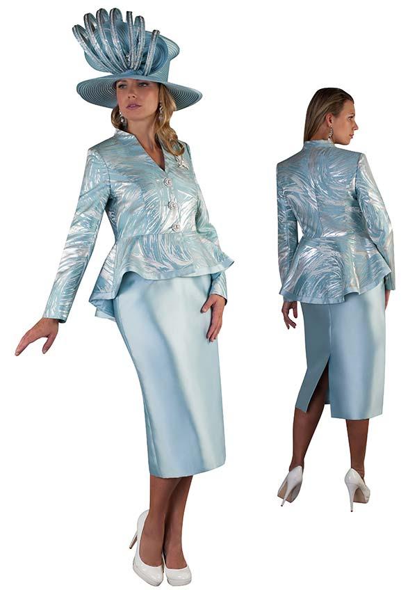 Tally Taylor 4649 - Womens Skirt Suit With Peplum Brocade Design Jacket