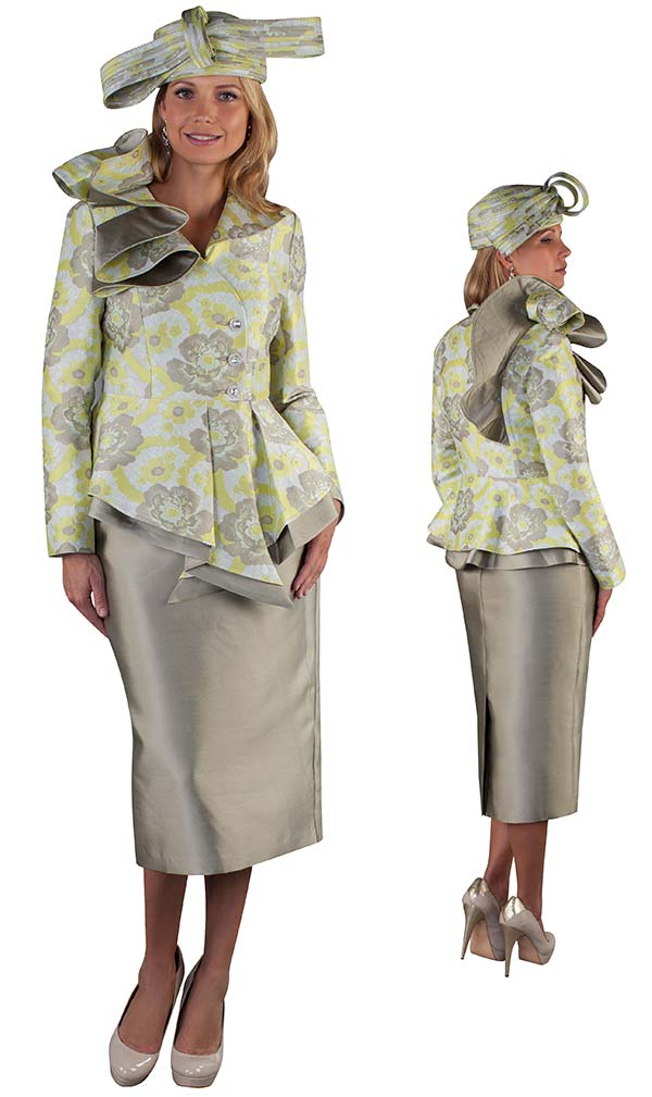 Tally Taylor 4650 - Skirt Suit With Asymmetric Rufffle Collar Peplum Jacket In Floral Brocade Fabric