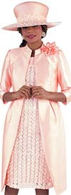 Tally Taylor 4652-Peach - Two Piece Cap Sleeve Dress Suit With Chiffon Flower Lace Design