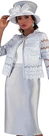 Tally Taylor 4653-Silver - Two Piece Dress Suit With Organza Lace Jacket