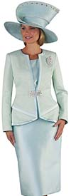 Tally Taylor 4654 - Soft Brocade Fabric Womens Skirt Suit With Satin Trim Design