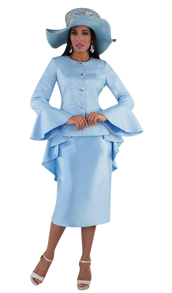 Tally Taylor 4655-Blue - Brocade Fabric Skirt Suit With Bell Sleeve High Low Style Peplum Jacket