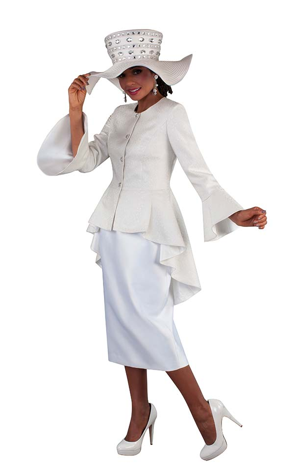 Tally Taylor 4655-Cream - Brocade Fabric Skirt Suit With Bell Sleeve High Low Style Peplum Jacket