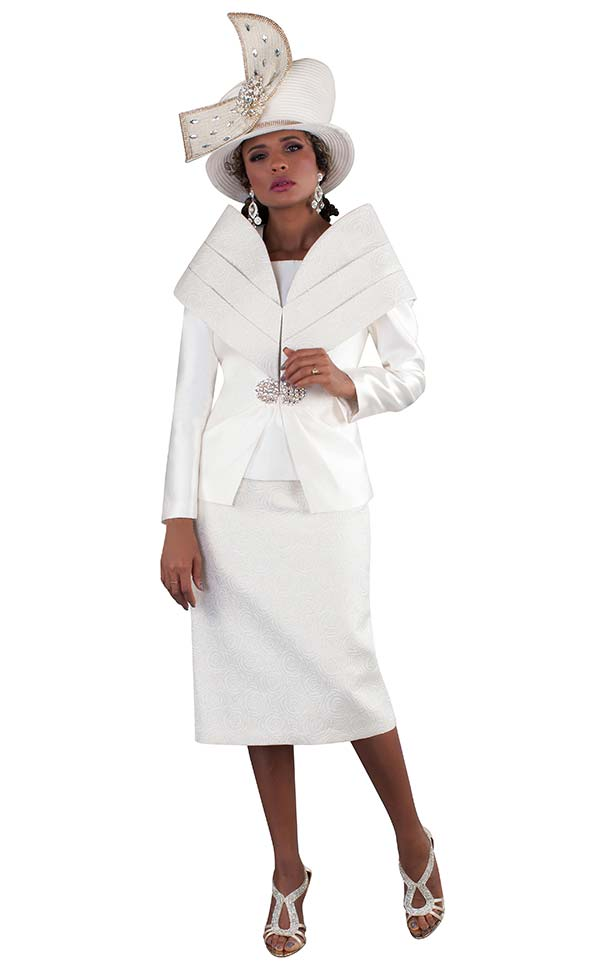Tally Taylor 4656 - Church Suit With Off Shoulder Collar Design & Textured Look Skirt