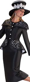 Tally Taylor 4659-Black - Skirt Suit With Lace Cut Over Shoulder Cover Design & Peplum Style Jacket