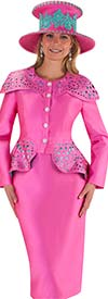 Tally Taylor 4659-Magenta - Skirt Suit With Lace Cut Over Shoulder Cover Design & Peplum Style Jacket