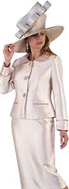 Tally Taylor 4660-Champagne - Skirt Suit With Rhinestone Details On Peter Pan Collar Jacket