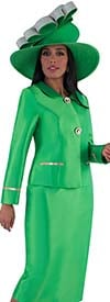 Tally Taylor 4660-Emerald - Skirt Suit With Rhinestone Details On Peter Pan Collar Jacket