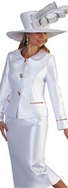 Tally Taylor 4660-White - Skirt Suit With Rhinestone Details On Peter Pan Collar Jacket