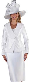 Tally Taylor 4662-Off White - Three Piece Womens Church Suit Chiffon Flower Detailed Jacket