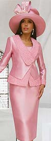 Tally Taylor 4662-Rose - Three Piece Womens Church Suit Chiffon Flower Detailed Jacket
