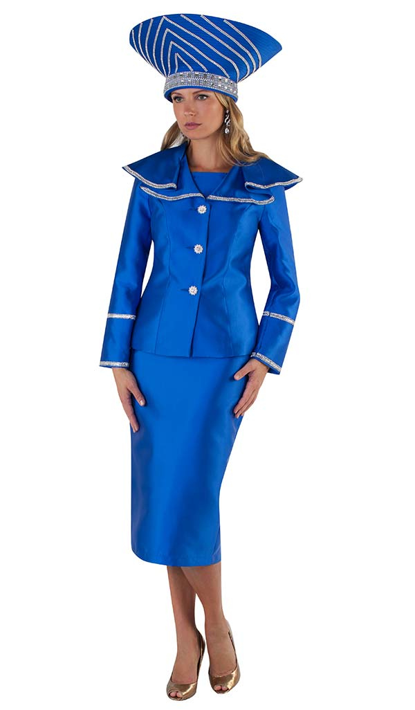 Tally Taylor 4663-Royal - Two Piece Suit With Rhinestone Detailed Sleeves & Wide Over Shoulder Collar