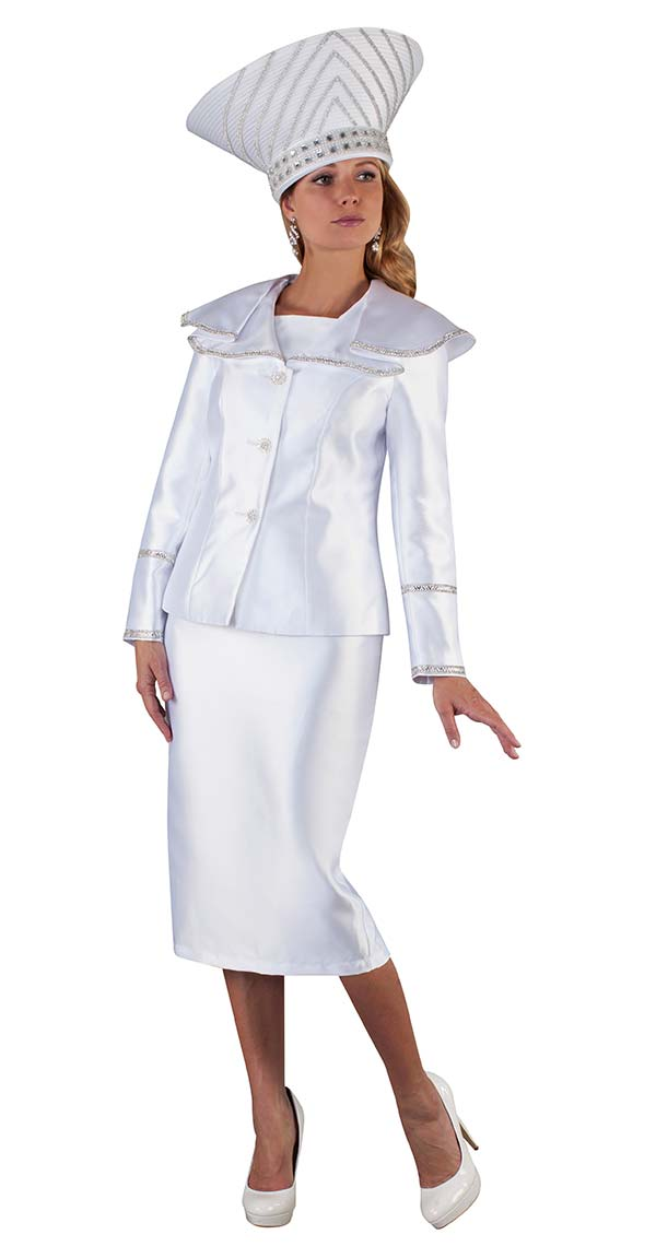 Tally Taylor 4663-White - Two Piece Suit With Rhinestone Detailed Sleeves & Wide Over Shoulder Collar