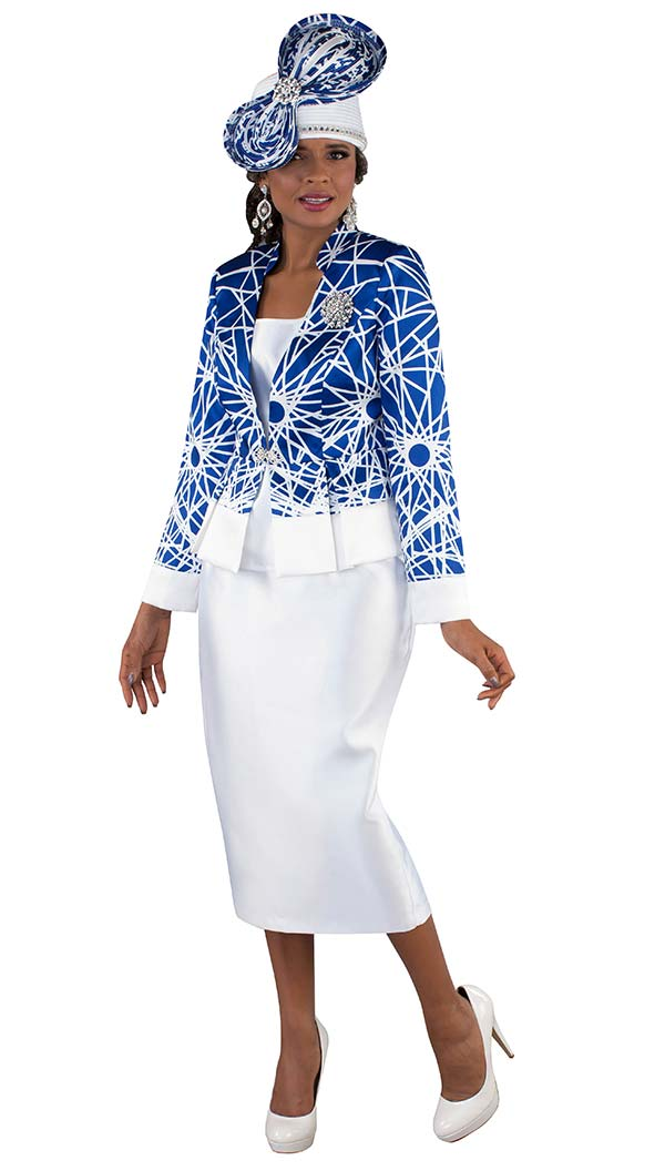 Tally Taylor 4664 - Skirt Suit With With Pleated Jacket In Abstract Printed Fabric